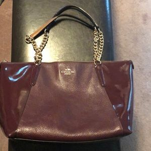 Used Red Leather Coach Bag